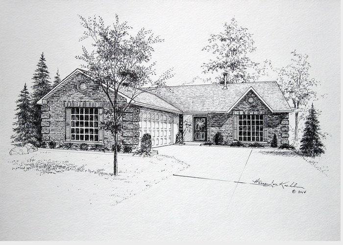 Homes Greeting Card featuring the drawing Texas Home 1 by Hanne Lore Koehler