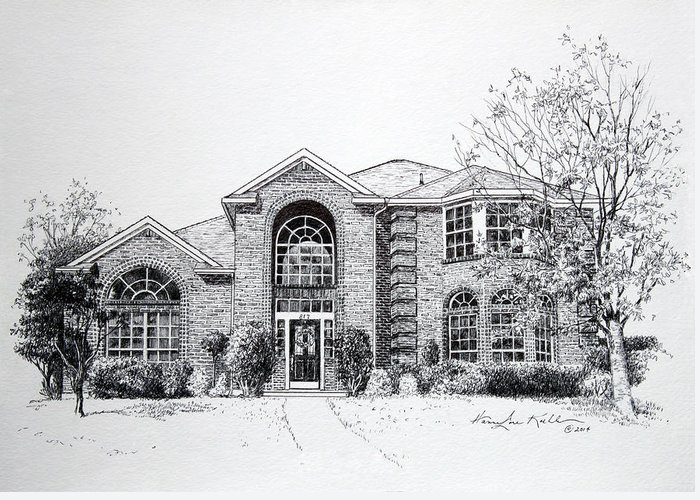Homes Greeting Card featuring the drawing Texas Home 2 by Hanne Lore Koehler