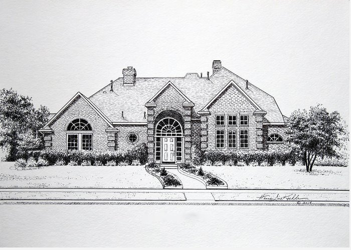 Homes Greeting Card featuring the drawing Texas Home 3 by Hanne Lore Koehler