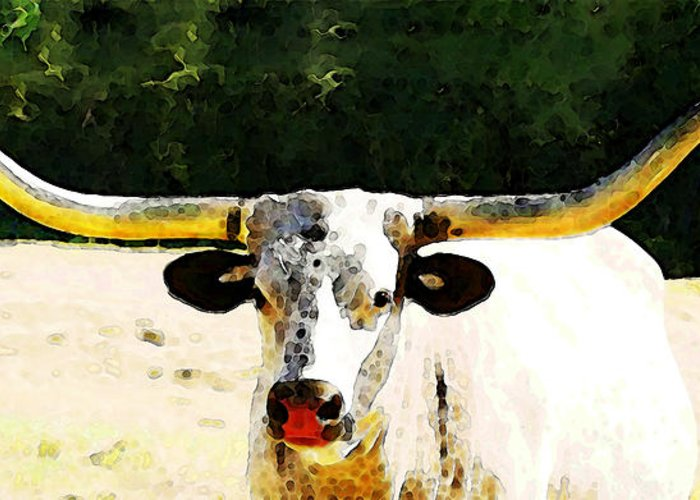Cow Greeting Card featuring the painting Texas Longhorn - Bull Cow by Sharon Cummings