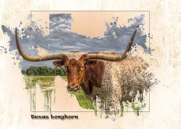 Texas Longhorn Greeting Card featuring the digital art Texas Longhorn by Ray Keeling
