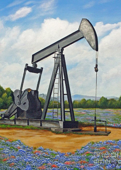 Texas Greeting Card featuring the painting Texas Oil Well by Jimmie Bartlett