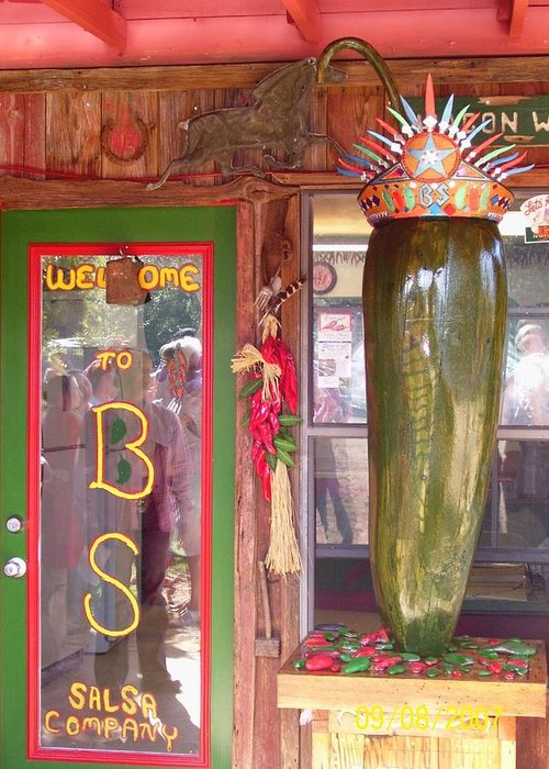 Business Greeting Card featuring the sculpture Texas Size Chili Pepper by Michael Pasko