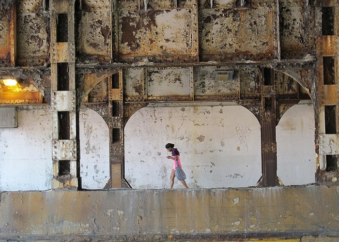 Texting Greeting Card featuring the photograph Texting Girl W/ Viaduct by Joe Kotas