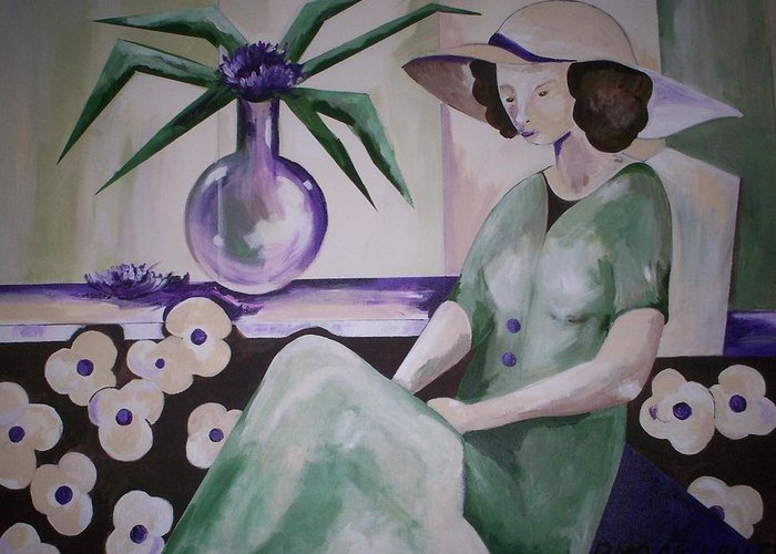 Barbara Moak Greeting Card featuring the painting Texting..where R U by Barbara Moak