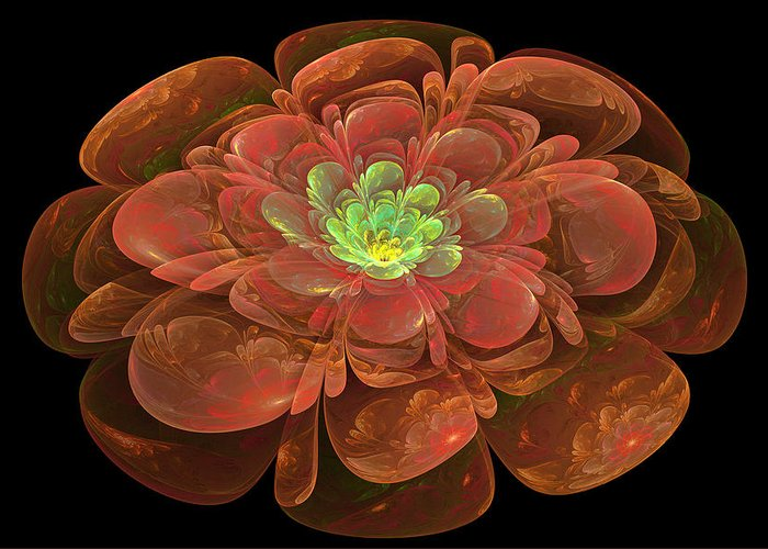 Abstract Greeting Card featuring the digital art Textured Bloom by Sandy Keeton
