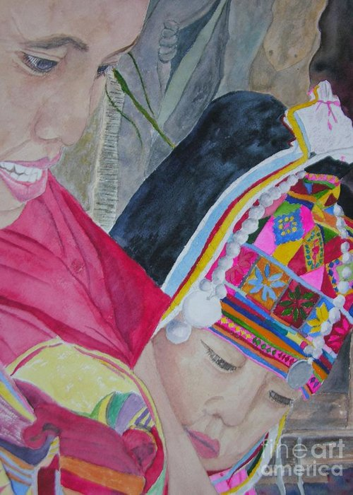Baby Greeting Card featuring the painting Thai Hill Tribe by Peggy Dickerson