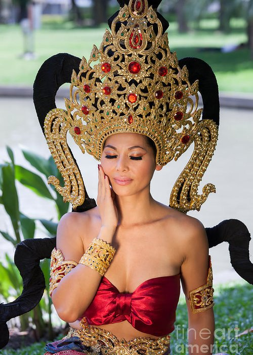 Adult Greeting Card featuring the photograph Thai Woman In Traditional Dress by Fototrav Print