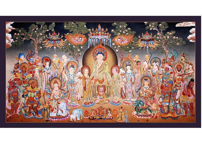 Thangka Greeting Card featuring the painting Buddha Art Thangka by Ts