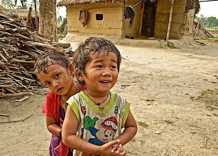Tharu Village Children Love To Greet Us Greeting Card featuring the photograph Tharu Village Children Love To Greet Us-nepal- by Ruth Hager