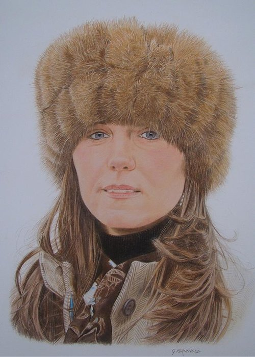 Kate Middleton Greeting Card featuring the drawing That Hat by Gary Fernandez