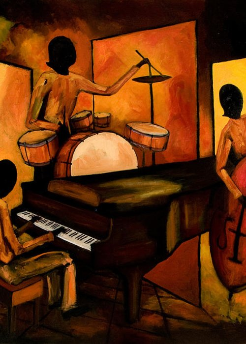 Jazz Greeting Card featuring the painting The 1st Jazz Trio by Larry Martin