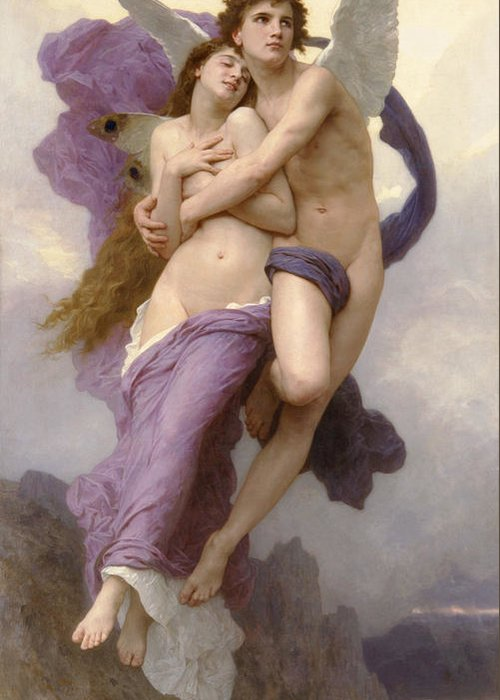 The Abduction Of Psyche Greeting Card featuring the painting The Abduction Of Psyche by William Bouguereau