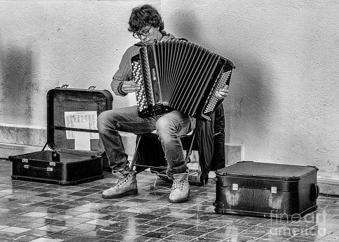 M�laga Greeting Card featuring the photograph The Accordion by Eugenio Moya