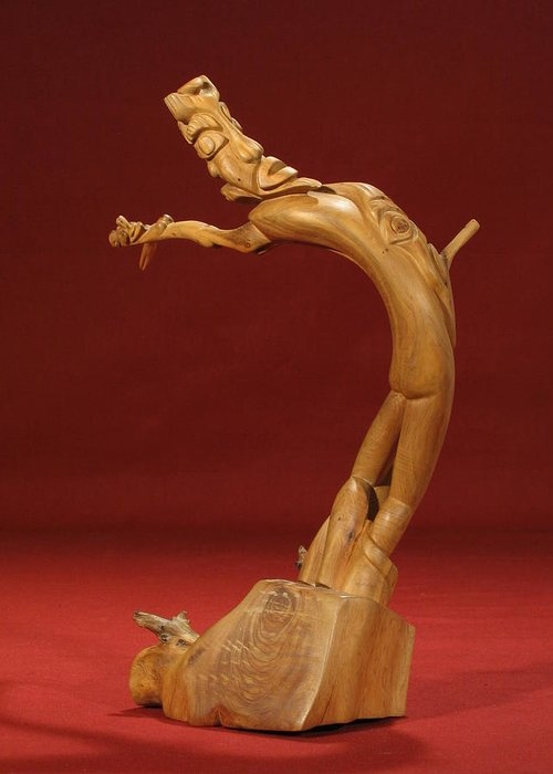 Cedar Greeting Card featuring the sculpture The Acrobat by Pimba