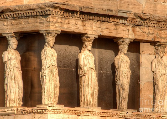 Greece Greeting Card featuring the photograph The Acropolis Caryatids by Deborah Smolinske
