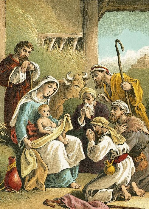 Shepherds Greeting Card featuring the painting The Adoration Of The Shepherds by English School