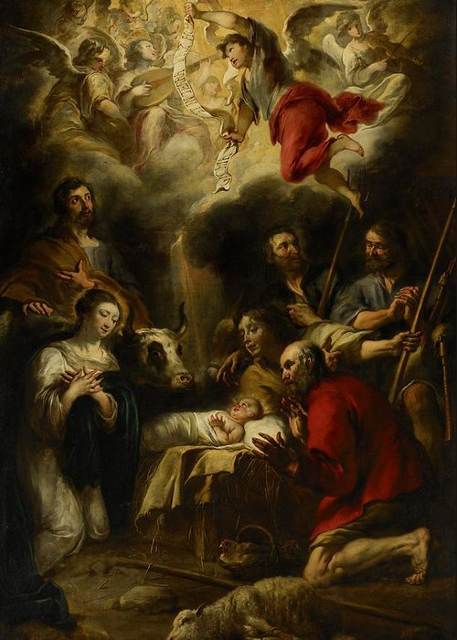 Christmas Cards Greeting Card featuring the painting The Adoration Of The Shepherds by Jan Cossiers