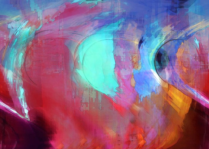 Abstract Greeting Card featuring the digital art The Afterglow by Linda Sannuti