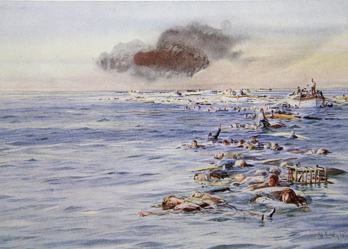 Ocean Liner Greeting Card featuring the drawing The Aftermath Of The Lusitania by William Lionel Wyllie
