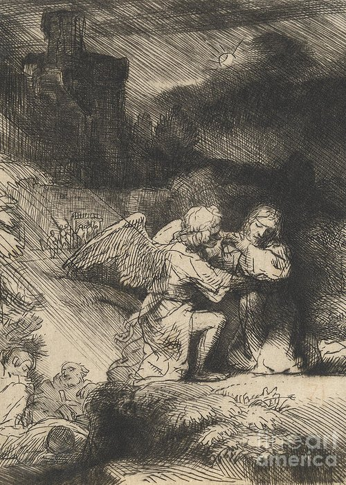 Rembrandt Greeting Card featuring the drawing The Agony In The Garden by Rembrandt