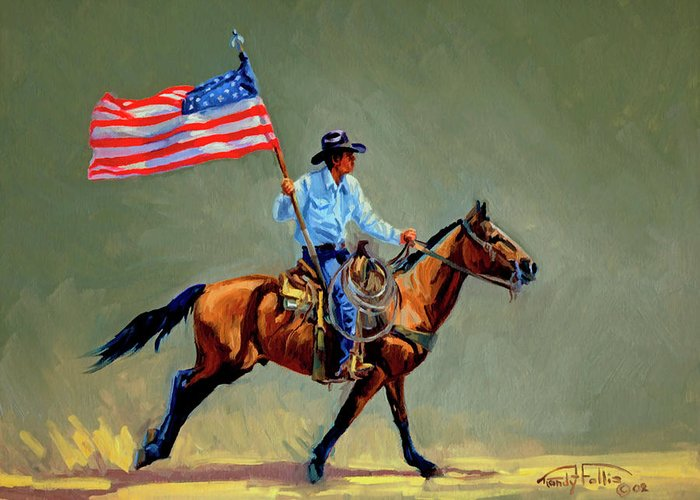 Flag Greeting Card featuring the painting The All American Cowboy by Randy Follis