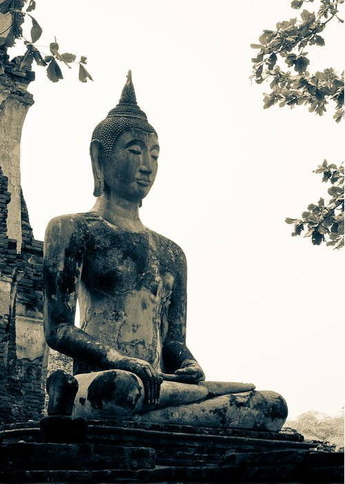 Buddha Statue Greeting Card featuring the sculpture The Ancient City Of Ayutthaya by Thosaporn Wintachai
