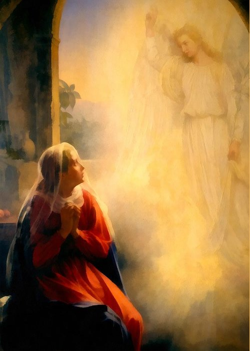 The Annunciation Greeting Card featuring the digital art The Annunciation by Carl Bloch