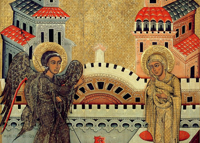 Virgin Mary; Madonna; Archangel Gabriel; Announcing; Russian Icon; Stylised; Gold Leaf; Byzantine Greeting Card featuring the painting The Annunciation by Fedusko of Sambor