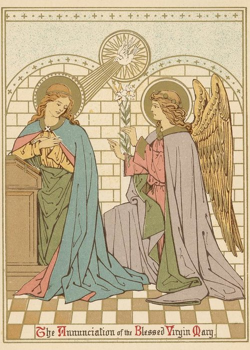 Saint Greeting Card featuring the painting The Annunciation Of The Blessed Virgin Mary by English School