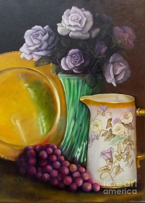 Still Life Greeting Card featuring the painting The Antique Pitcher by Marlene Book