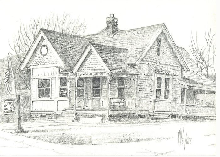 The Antique Shop Greeting Card featuring the drawing The Antique Shop by Kip DeVore