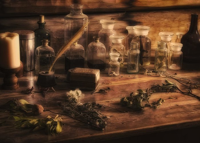 Apothecary Greeting Card featuring the photograph The Apothecary by Priscilla Burgers