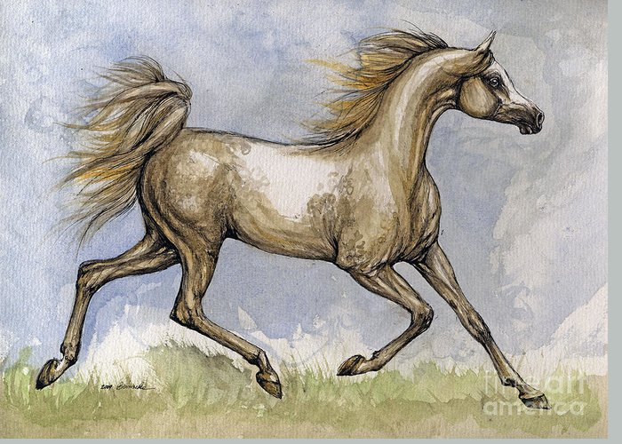 Mare Greeting Card featuring the painting The Arabian Mare Running by Angel Ciesniarska