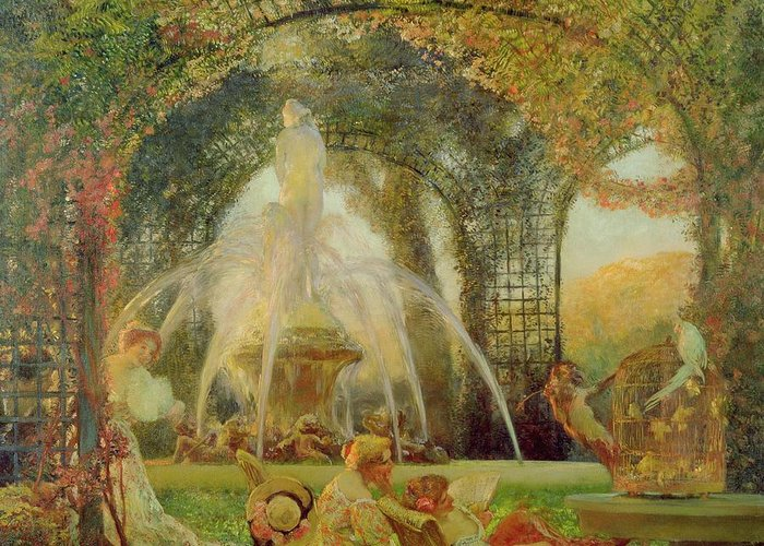 The Arbour Greeting Card featuring the painting The Arbor by Gaston De la Touche
