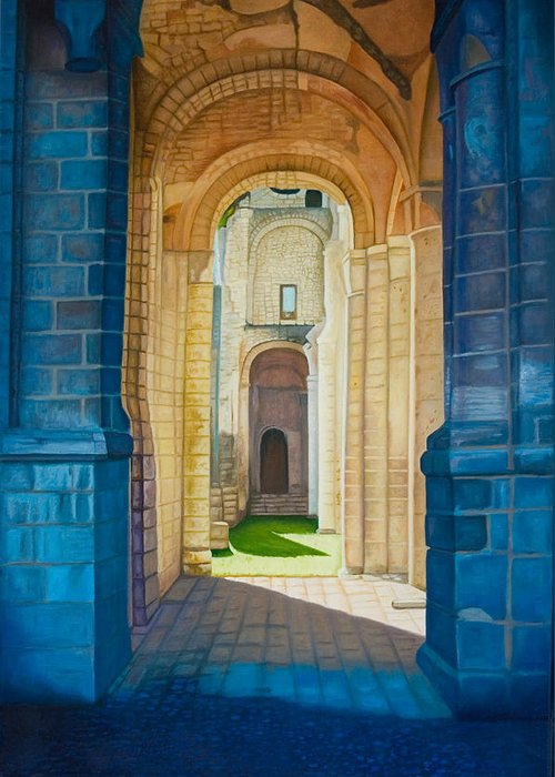 Architecture Greeting Card featuring the painting The Arches Of The Abbey At Jumieges by Stephen Degan