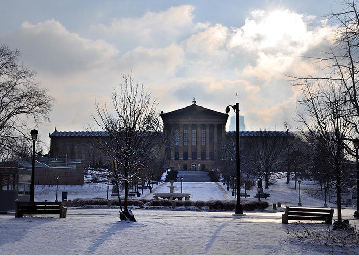 Art Greeting Card featuring the photograph The Art Museum In The Snow by Bill Cannon