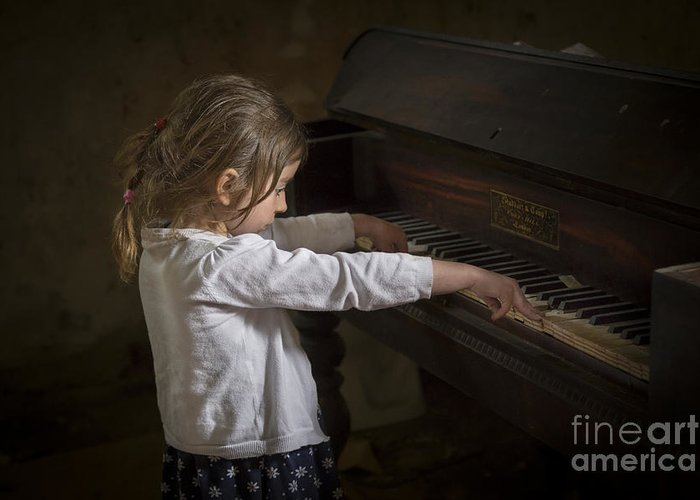 Girl Greeting Card featuring the photograph The Art Of Melody by Evelina Kremsdorf
