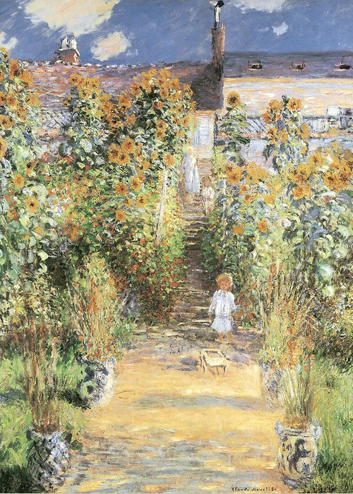 The artists garden at vetheuil greeting card for sale by claude monet the artists garden at vetheuil greeting card featuring the painting the artists garden at vetheuil by m4hsunfo