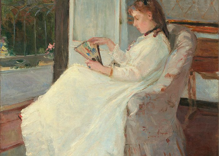 Artist's; Sister; Window; Seated; Interior; French; Windows; Open; Window; Full; Length; Absorbed; Immersed; Distracted; Thoughtful; Contemplative; Pensive; Gazing; Fan; White; Summer; Dress; Sunshine; Elegant; Fashion; Fashionable; Pure; Impressionist; Impressionism; Family; Observing; Observe; Observation; Berthe; Morisot; Ribbon; Hair Ribbon; Fan; Calm; Calming; Thinking; Frock; Frill; Frills; Indoors; Relaxing; Relaxed; Hair; Hairstyle; Curls; Girl; Woman; Young Lady; Innocent; Innocence Greeting Card featuring the painting The Artist's Sister At A Window by Berthe Morisot