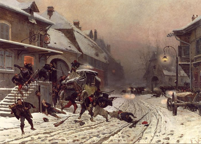 The Attack At Dawn Greeting Card featuring the painting The Attack At Dawn by Alphonse Marie De Neuville