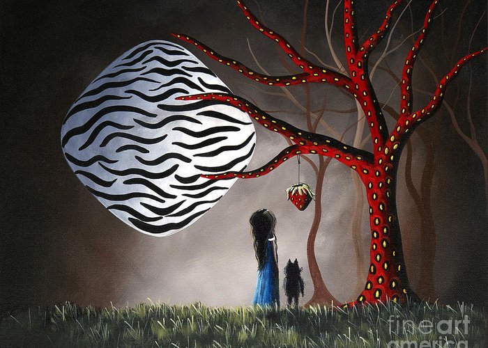 Moon Greeting Card featuring the painting The Bait By Shawna Erback by Shawna Erback