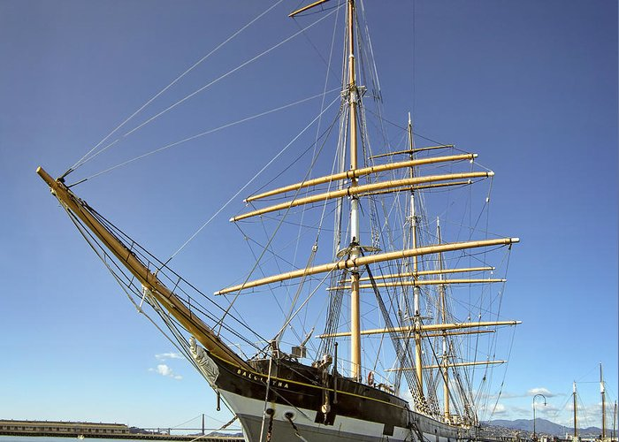 Balclutha Greeting Card featuring the photograph The Balclutha Historic 3 Masted Schooner - San Francisco by Daniel Hagerman