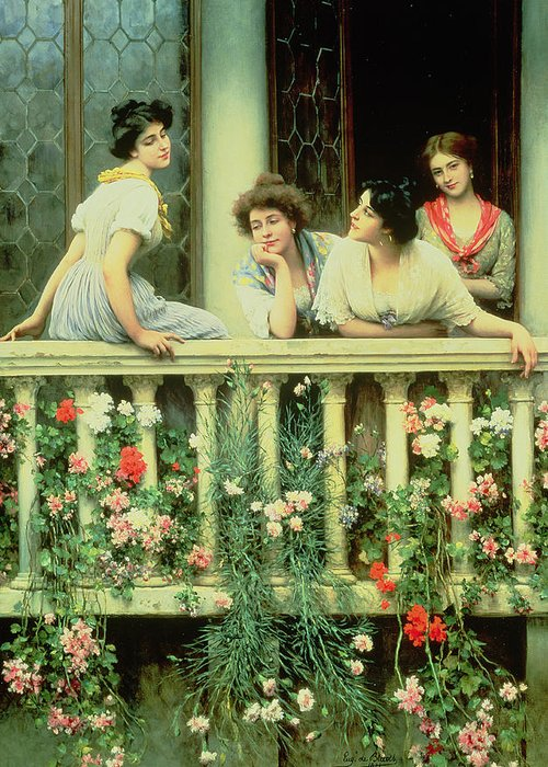 Female Greeting Card featuring the painting The Balcony by Eugen von Blaas