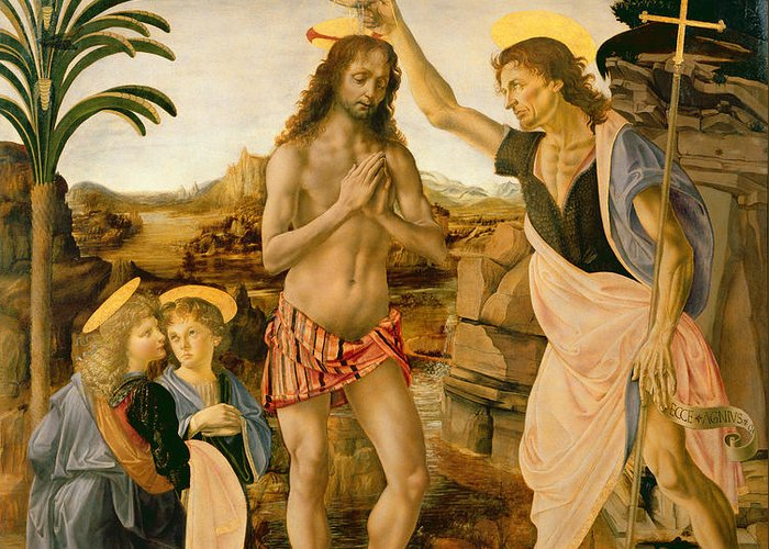 Son Of God Greeting Card featuring the painting The Baptism Of Christ By John The Baptist by Leonardo da Vinci