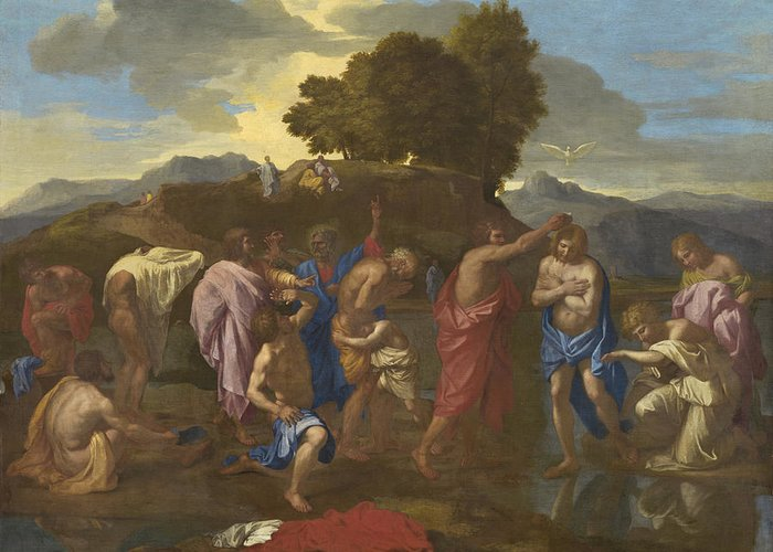 Jesus; Christ; Crucifix; Staff; St; John; Baptist; Saint; Baptising; River; Jordan; Dove; Holy; Spirit; Holy; Ghost; Baroque; Neo; Classical; Landscape Greeting Card featuring the painting The Baptism Of Christ by Nicolas Poussin