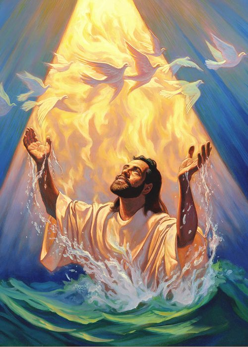 Christian Art Greeting Card featuring the painting The Baptism Of Jesus by Jeff Haynie