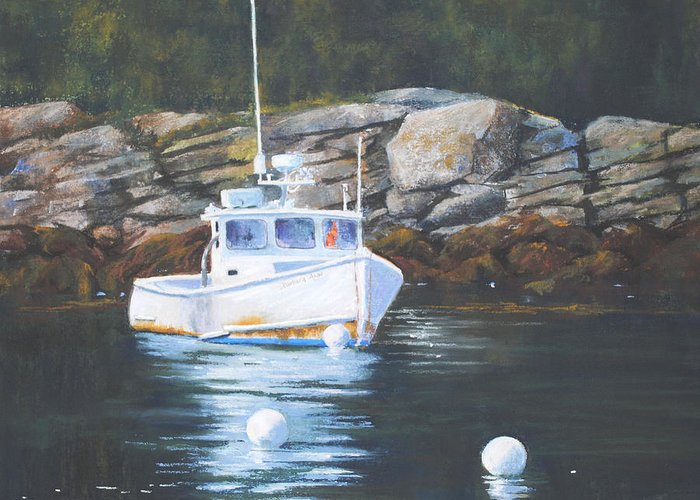 Lobster Boats Greeting Card featuring the painting The Barbara Ann by Christine Hodecker-George