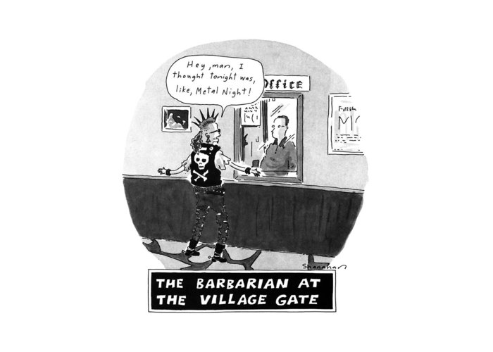 Youth Greeting Card featuring the drawing The Barbarian At The Villiage Gate by Danny Shanahan