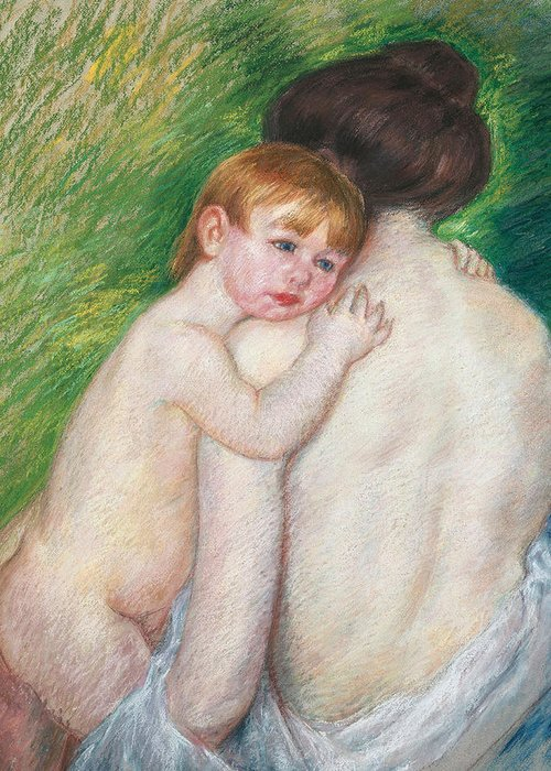 Child Greeting Card featuring the painting The Bare Back by Mary Cassatt Stevenson